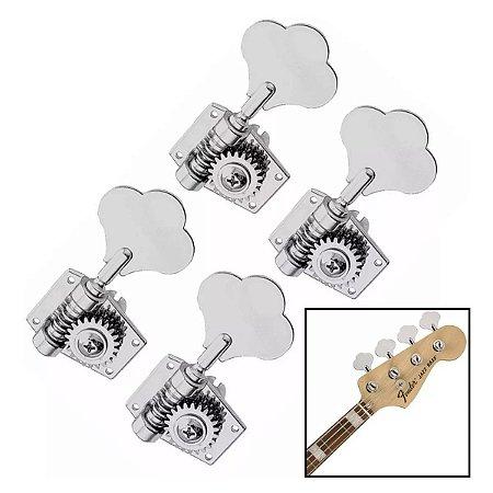 Jogo De Tarrachas Tarraxas Blindada Cromada Para Baixo 4 Cordas Em Linha Jazz Bass Avs