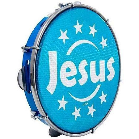 "Pandeiro Luen 10"" ABS Pele Holográfica Jesus Azul"