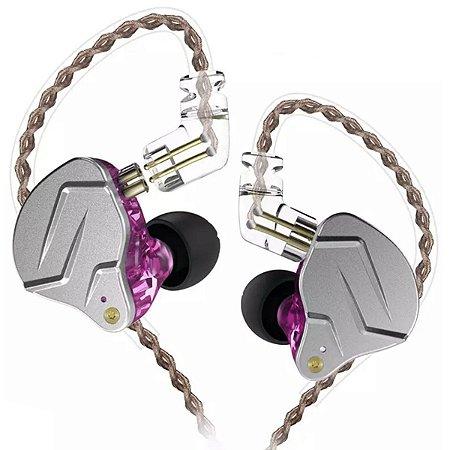 Fone De Ouvido In Ear Dual Driver KZ ZNS Pro Rosa