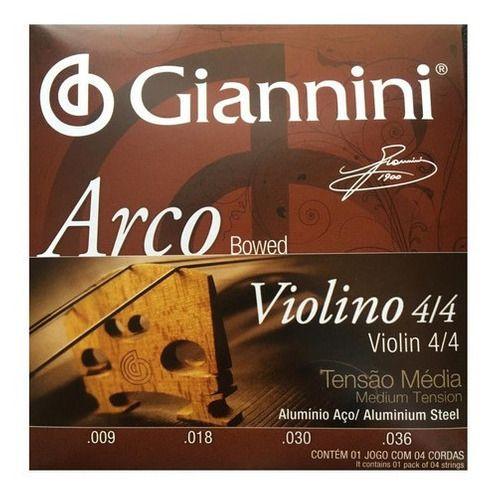 Jogo De Cordas Para Violino 4/4 Giannini Tensão Média