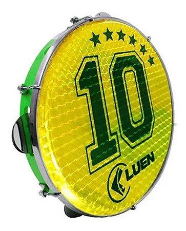 "Pandeiro Luen 10"" ABS Verde Pele Holográfica Camisa 10"