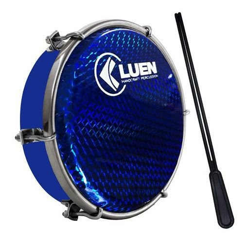 """Tamborim Luen 6"""" Aro Abs Pele Holográfica Azul Com Baqueta"""