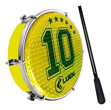 """Tamborim Luen 6"""" Aro ABS Amarelo Pele Holográfica Camisa 10"""