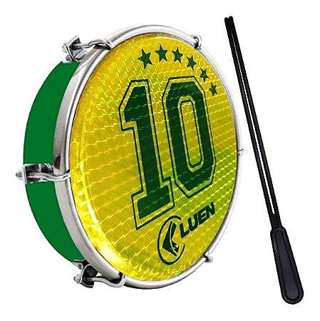 """Tamborim Luen 6"""" Aro ABS Verde Pele Holográfica Camisa 10"""