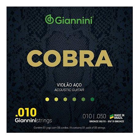Jogo de Cordas Para Violão Aço Giannini Cobra 010