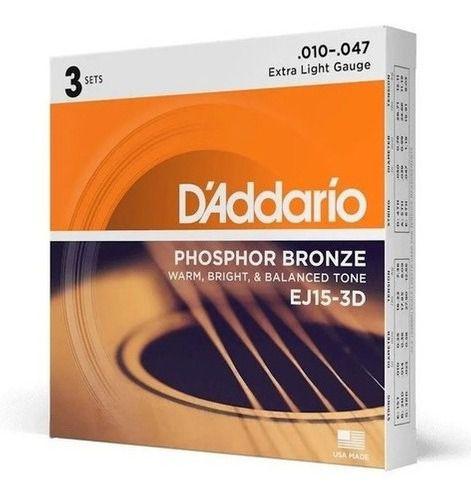 Pack Economico 03 Cordas Daddario Violão 010 Phosphor Bronze
