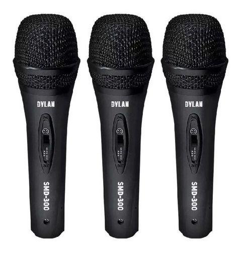 Kit Com 3 Microfones Dinamicos Com Cabo Dylan SMD-300
