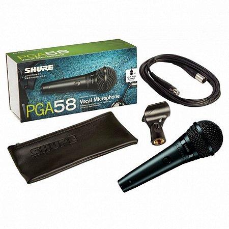 Microfone Vocal Dinâmico Cardioide Shure PGA-58