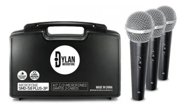 Kit Com 03 Microfones Dinâmicos Unidirecional Dylan SMD-58