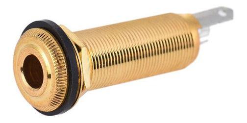 Jack Conector P10 Estéreo Para Guitarra Dourado Cilindrico