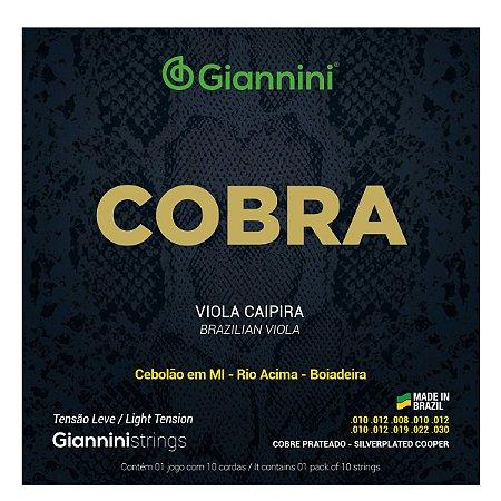 Jogo De Cordas Para Viola Caipira Giannini Cobra Tensão Leve