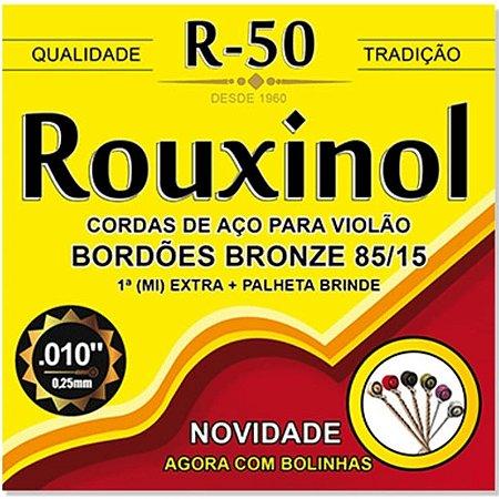 Jogo De Cordas Para Violão Aço Rouxinol 010 Com Bolinha R50