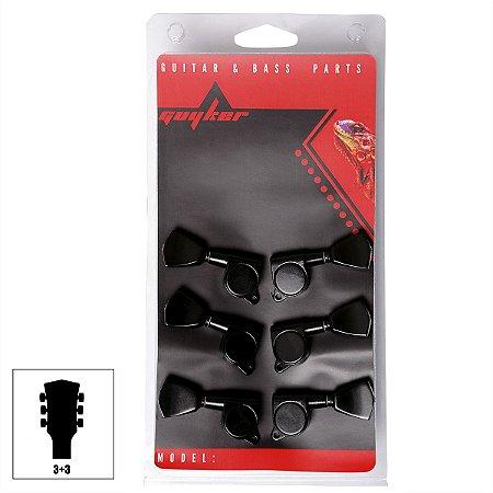 Tarraxas Blindada Preta Para Guitarra Les Paul 3x3