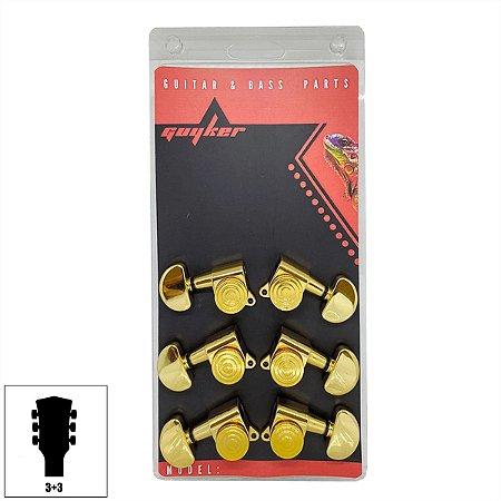 Tarraxas Com Trava Dourada Para Violão Guitarra Les Paul 3x3