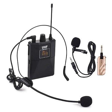 Conjunto De Microfone Sem Fio Lapela Dupla Frequencia UHF