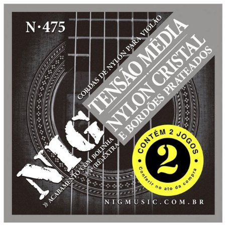 Kit Econômico Com 02 Jogos De Cordas Nig Violão Nylon N-475