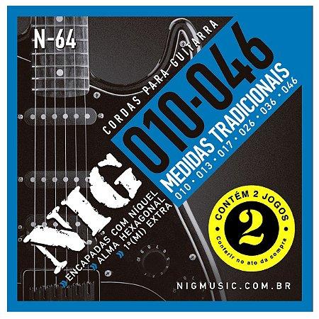Kit Econômico Com 02 Jogos De Cordas Guitarra 010 Nig N-64