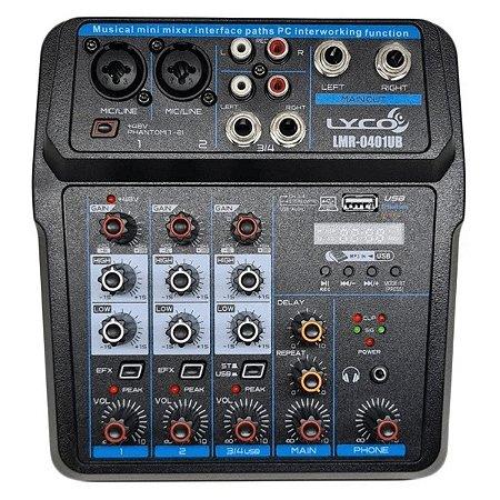 Mesa De Som Mixer Profissional 4 Canais Lyco Bluetooth Usb