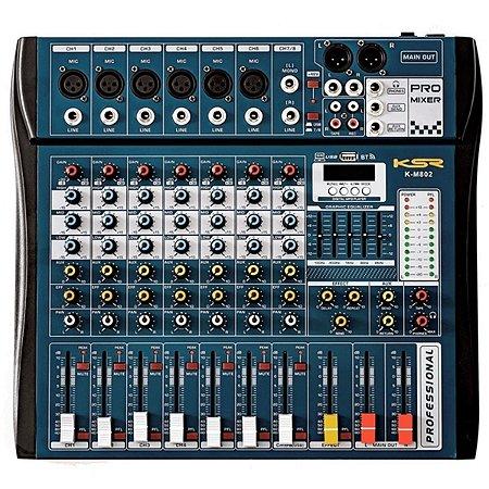 Mesa De Som Mixer Profissional 8 Canais KSR Bluetooth Usb