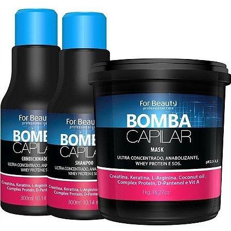 For Beauty Bomba Capilar Kit com Máscara de 1kg - 3 itens