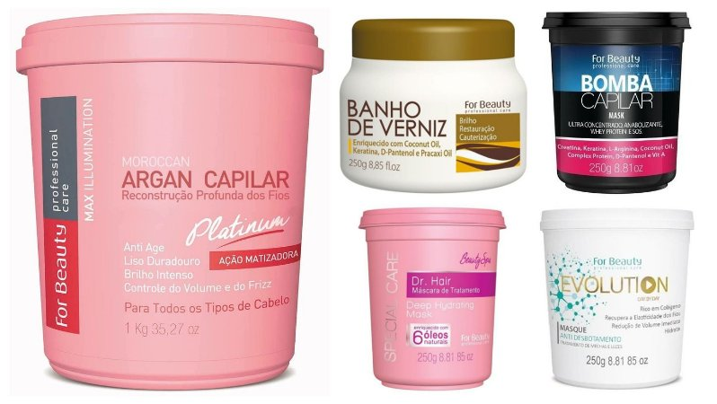 For Beauty Argan Capilar Platinum 1kg e Cronograma Capilar 4x250g (5 itens)