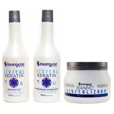 Morgane Crystal Keratin e Banho Crystalizado Kit (3 itens)