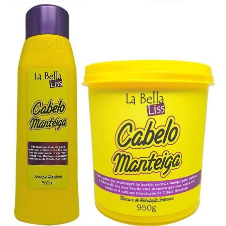 La Bella Liss Cabelo Manteiga Kit Shampoo 500ml e Máscara 950g