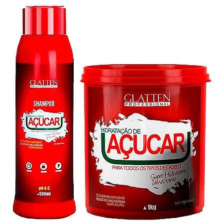 Glatten Açucar Reconstrução Shampoo 500ml e Máscara 1kg