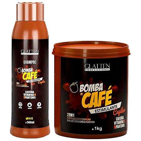 Glatten Bomba de Café Shampoo 500ml e Máscara 1kg