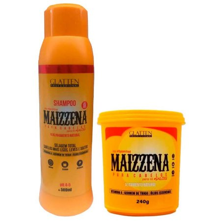 Glatten Maizzena Shampoo 500ml e Máscara 240g
