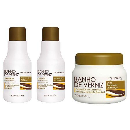 For Beauty Banho de Verniz kit com Mascara Pequena - 3 itens