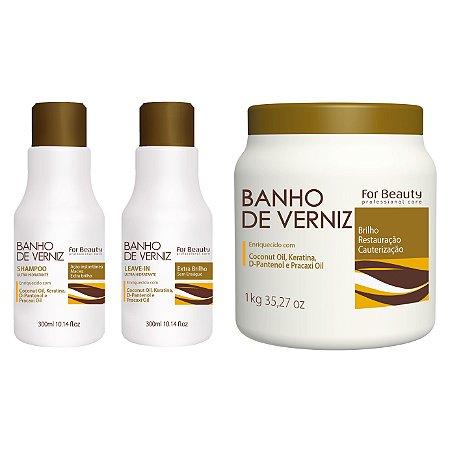 For Beauty Banho de Verniz kit com Mascara Grande - 3 itens