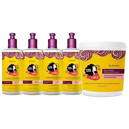 For Beauty Linha Cachos Curls Kit com Máscara 1kg (5 itens)