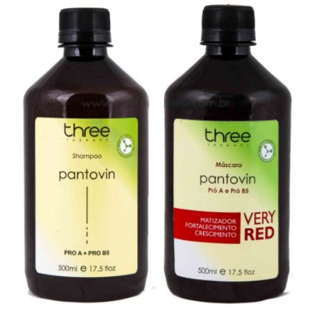 Three Therapy Shampoo Pantovin e Máscara Matizadora Very Red 2x500ml