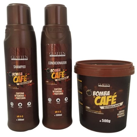 Glatten Bomba de Café Kit com Máscara 500g (3 itens)