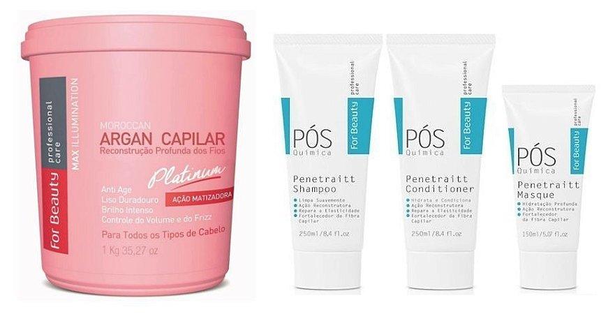 For Beauty Argan Capilar Matizador Platinum e Penetraitt Pós Química (4 itens)