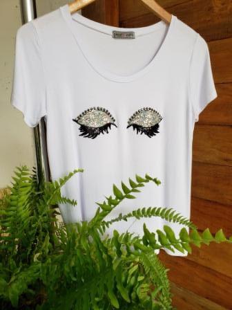 T-Shirt Olhinhos Paetês