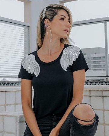 T-Shirt Asas Paetês Prata