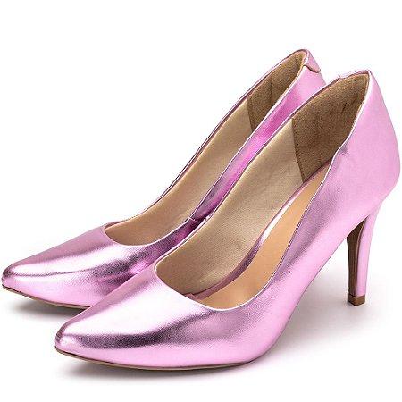 Sapato Scarpin Salto Alto Fino Em Rosa Metalizado