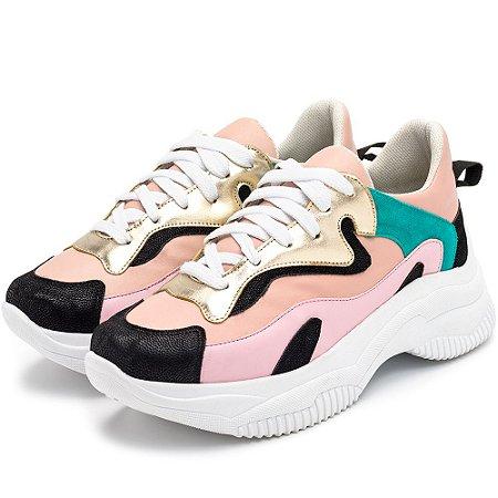 Tênis Sneakers Chuncky Em Napa Rosa Bebe Jade E Dourado E Preto
