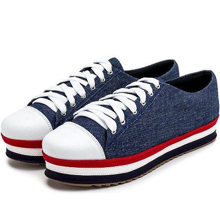 Tênis Casual Flat Form Tecido Jeans E Detalhes Em Napa Branca