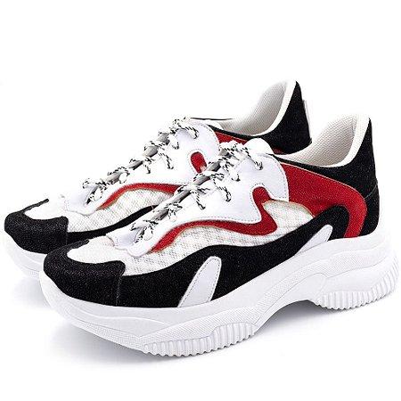 Tênis Sneakers Chuncky Recortes Em Napa Branca Com Vermelho E Nobucado Preto