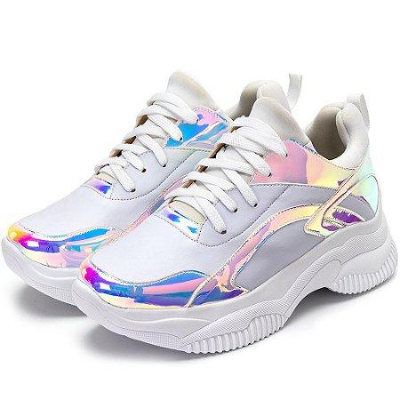 Tênis Sneakers Chuncky Recortes Napa Branca E Metalizado Holográfico