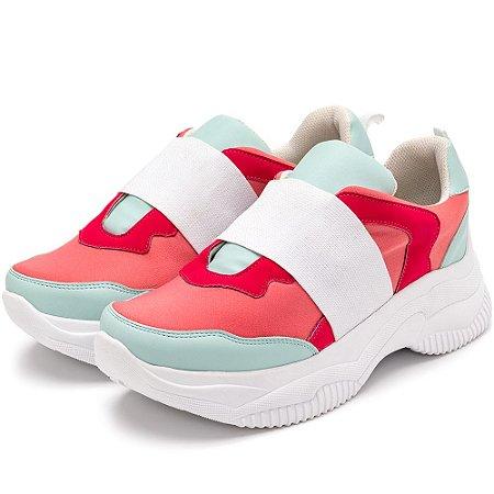 Tênis Sneakers Chunky Elástico Em Napa Rosa Bebe Com Napa Azul Bebe