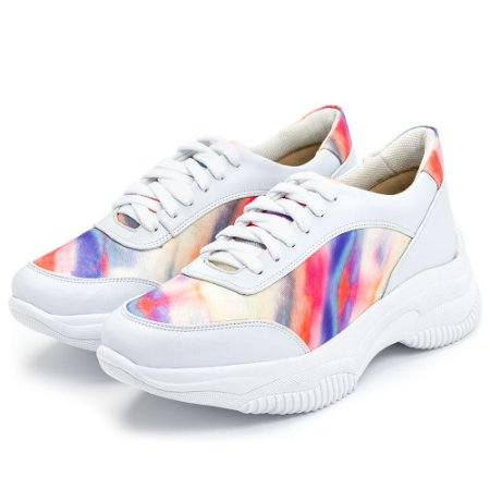 Tênis Sneakers Chuncky Recortes Branco Detalhes Tiedye