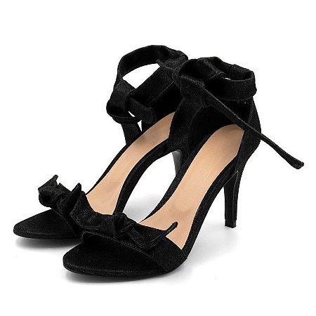 Sandália Salto Alto Com Laço Em Nobucado Preto