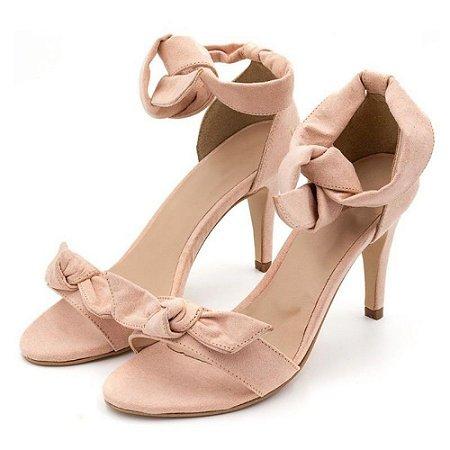 Sandália Salto Alto Com Laço Em Camurça Rosa Bebe