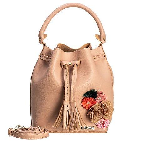 Bolsa saco em Napa Nude com detalhes em flores