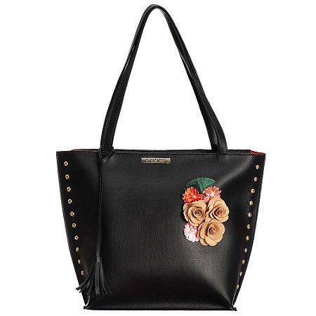 Bolsa grande em Napa Preta com detalhes em flores