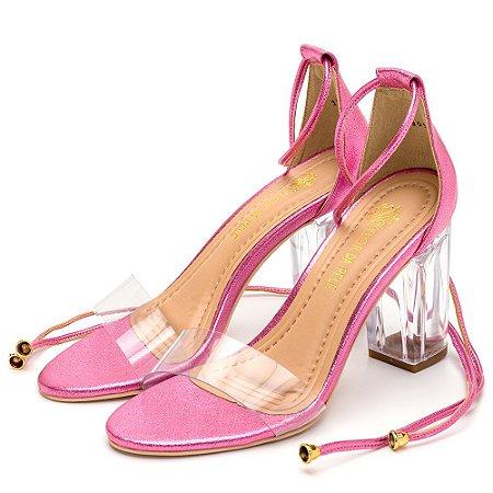Sandália Salto Alto Em Metalizado Rosa Com Transparência E Salto Transparente